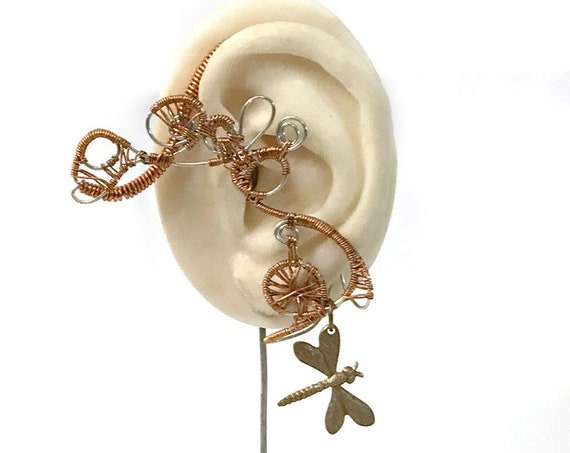Copper Dragonfly Wire Wrap Ear Wrap - Left Ear