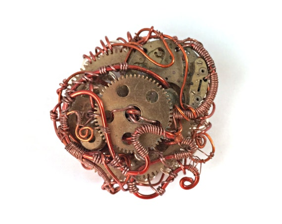 Steampunk Wire Wrap Brooch