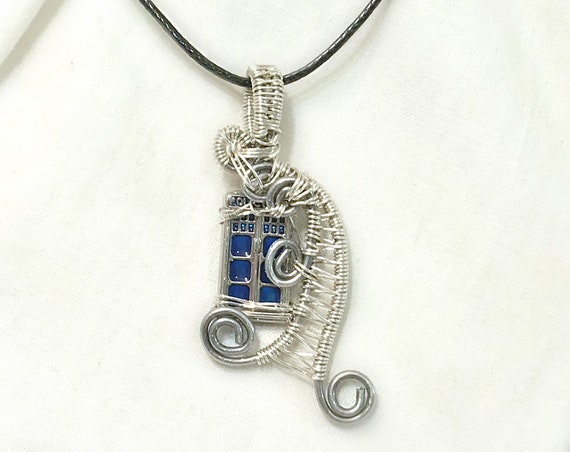 TARDIS Time Vortex Wire Wrap Pendant