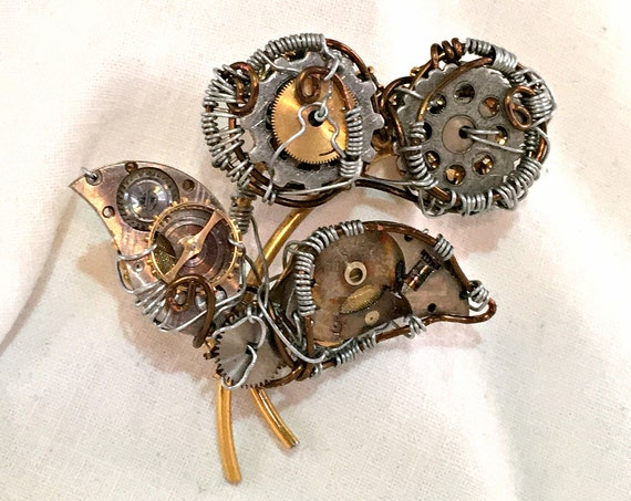 Steampunk Flowers Brooch