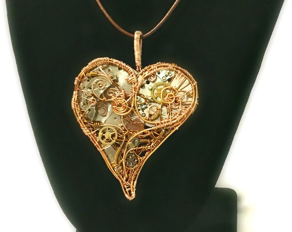 Large Mechanical Heart Steampunk Pendant