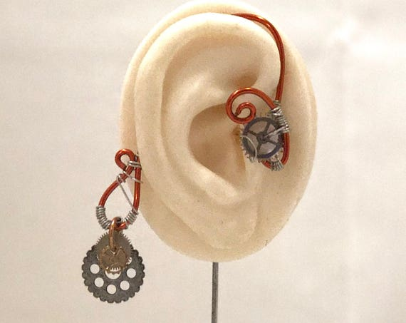 Copper Cogs Steampunk Wire Ear Wrap