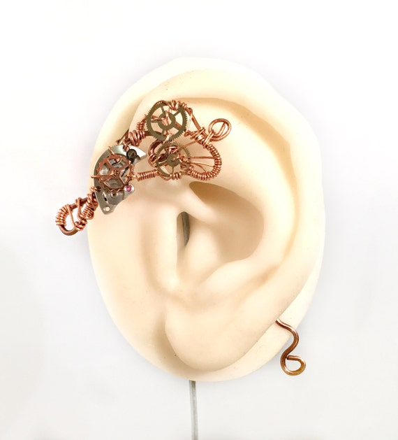 Copper Cogs Steampunk Wire Ear Wrap - Left Ear