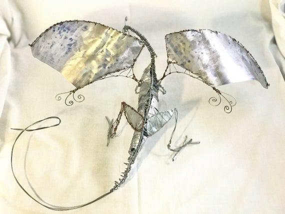 Metal Wire Wrap Dragon Sculpture