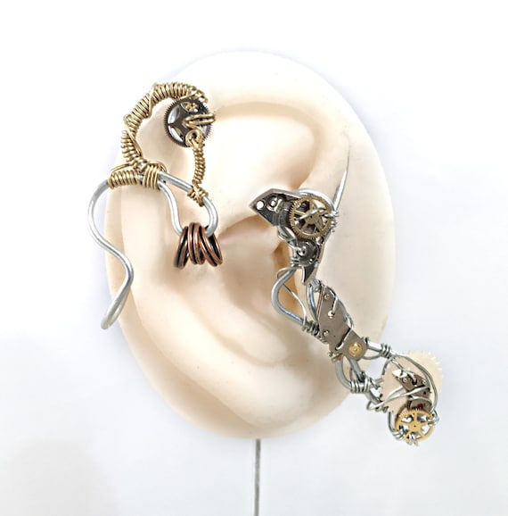 Steel and Brass  Steampunk Wire Ear Wrap - Right Ear