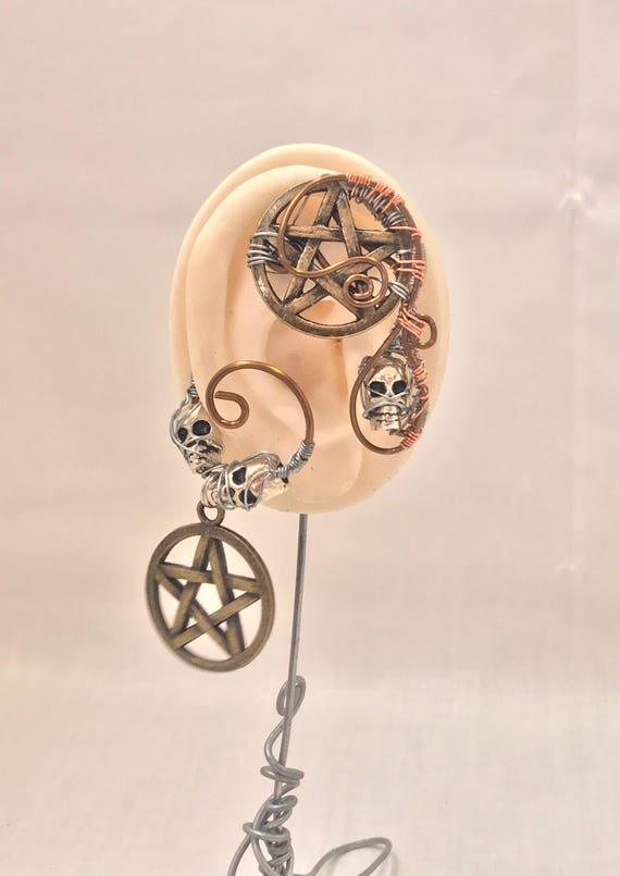 Skulls and Pentagram Wire Ear Wrap - Right Ear