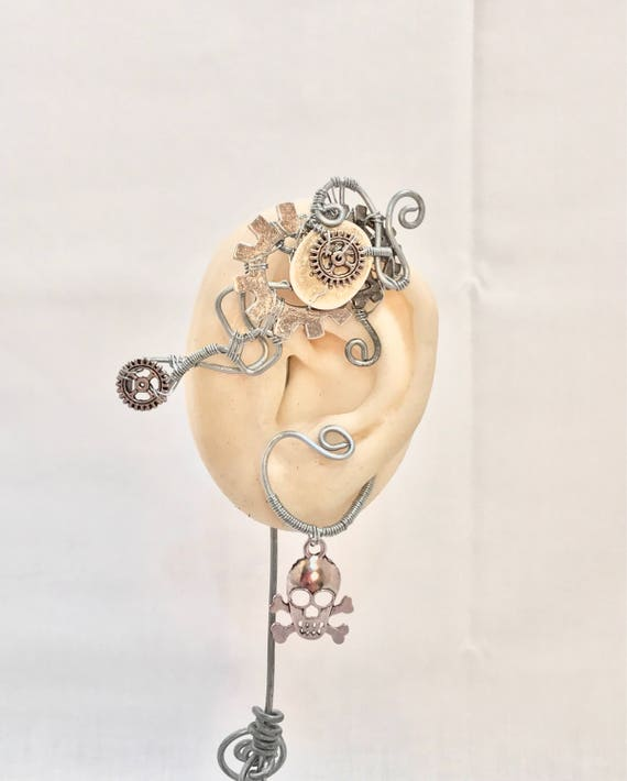 Gears Skull and Crossbones Steampunk Wire Ear Wrap - Left Ear
