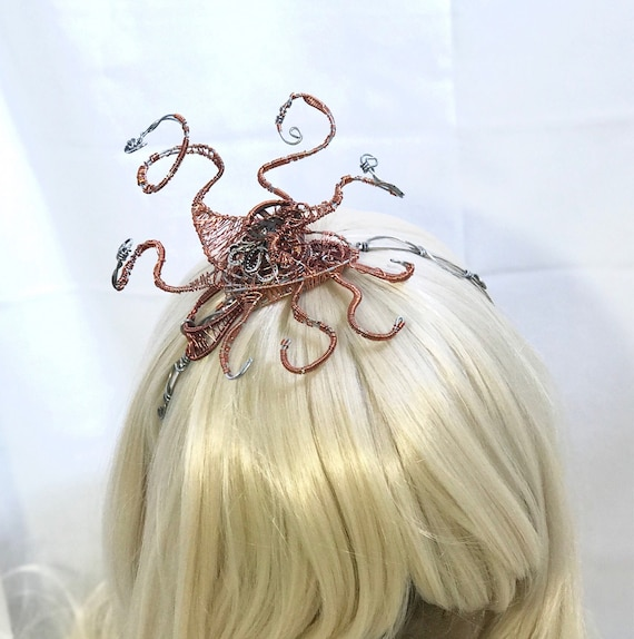 Copper Octopus Wire Wrap Steampunk Headband Fascinator