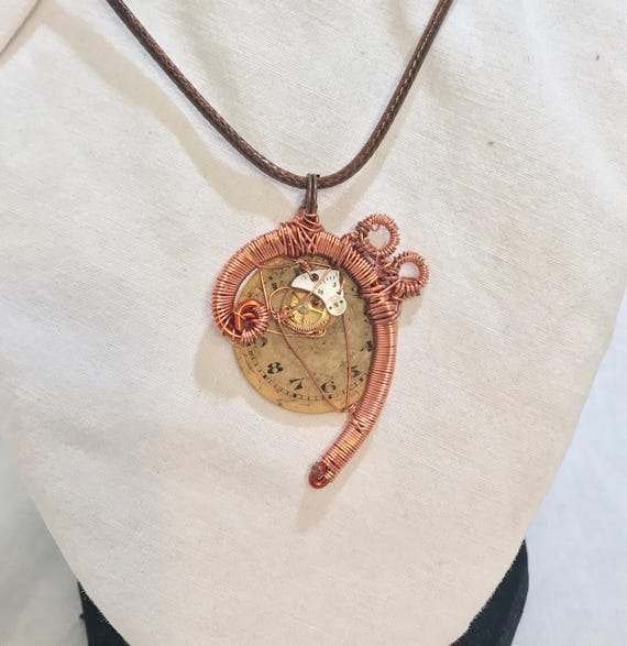 Copper Bass Clef Note Steampunk Pendant