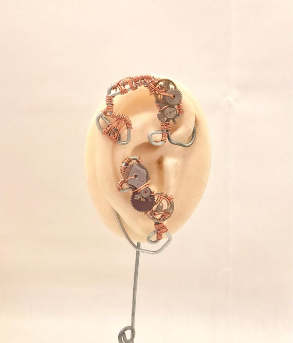 Copper Cogs Steampunk Ear Wrap - Right Ear