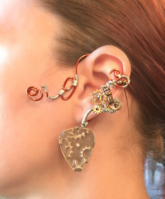 Copper and Cogs Guitar Pick  Wrap Ear Wrap - Left Ear