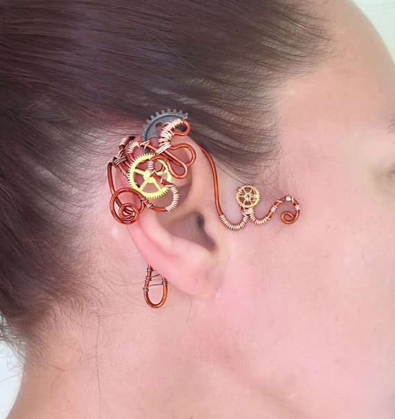 Copper and Cogs Steampunk Wire Ear Wrap - Right Ear
