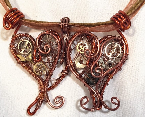 Two Hearts Mechanical Wire Wrap Steampunk Pendant