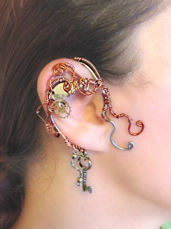 Copper Steampunk Wire Wrap Ear Wrap - Right Ear
