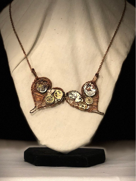 Two Hearts Steampunk Pendant