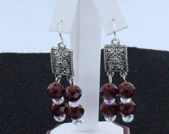Deep Red and Clear Crystal Earrings
