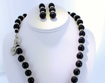 Black Striped Agate Gemstone and Silver Plated Crystal Rondelle Beaded Necklace with Matching Earrings