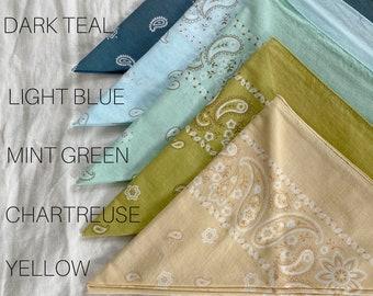 The Texas Bandana Hand Dyed Bandana Block Printed Fabric | Hand Printed Bandana Naturally Dyed Textile made to order