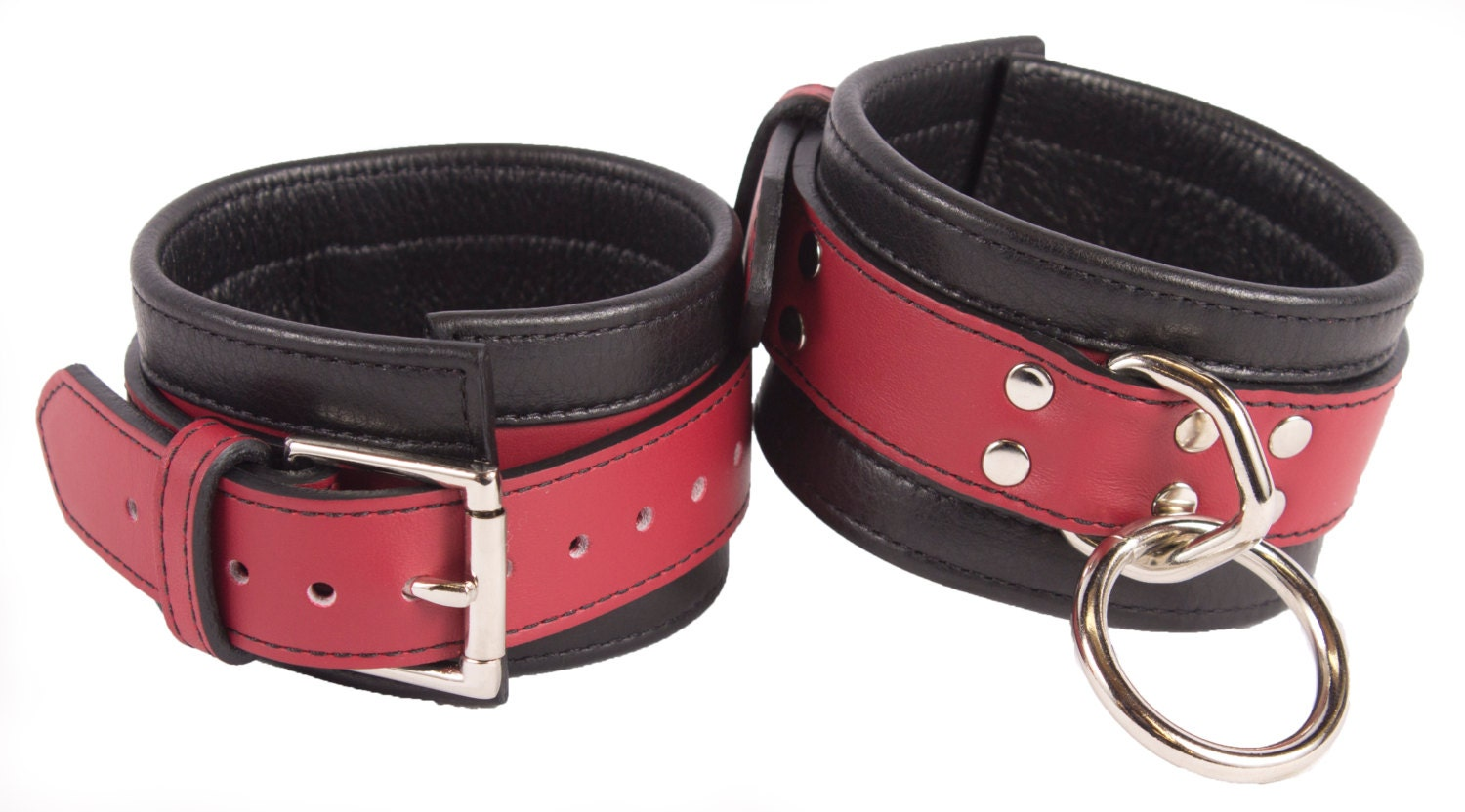 Red leather bondage restraints