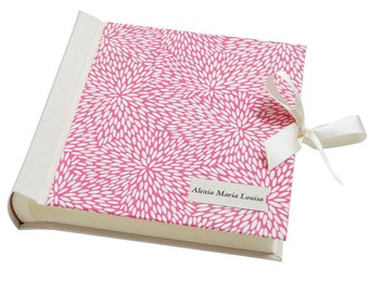 """Personalised Japanese Photo Album with Rice Pattern - """"Rice Grain Pink"""""""