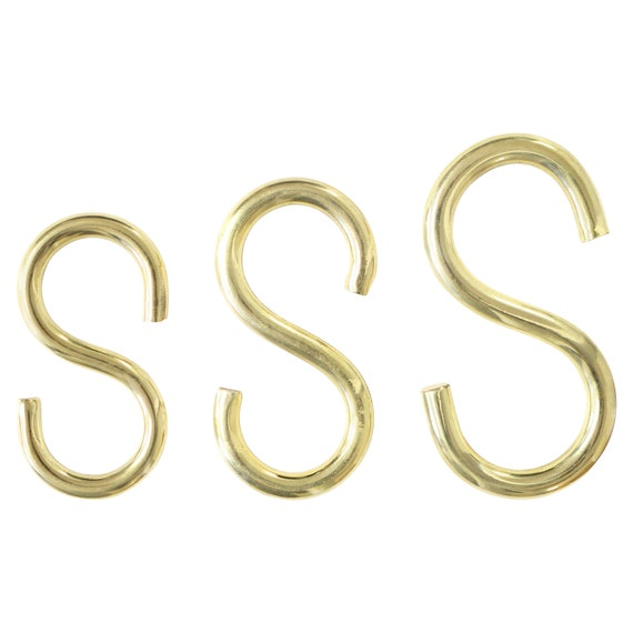 """pack of 10  SOLID  BRASS ESS S HOOKS 3//4/"""" 18mm chain plug art craft box no 2"""