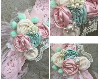 Pistachio Cream Rosette Shabby Chic Headband by Exquisite Little Lady
