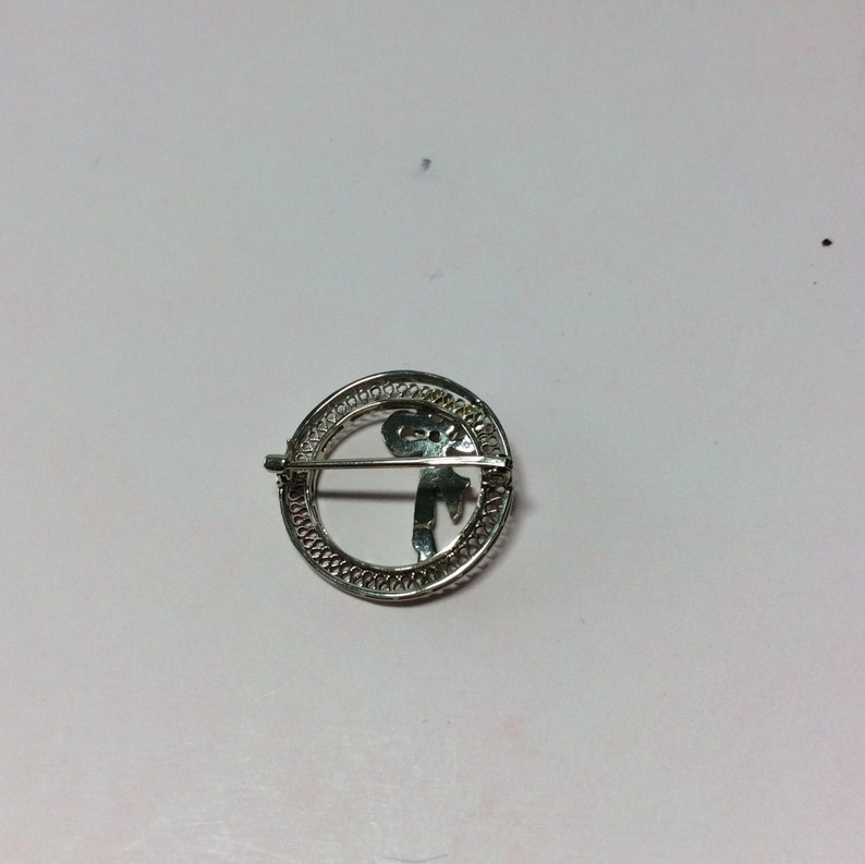 Antique Diamond Brooch in 10k White Gold Filigree Circle with Bow 1920/'s Edwardian