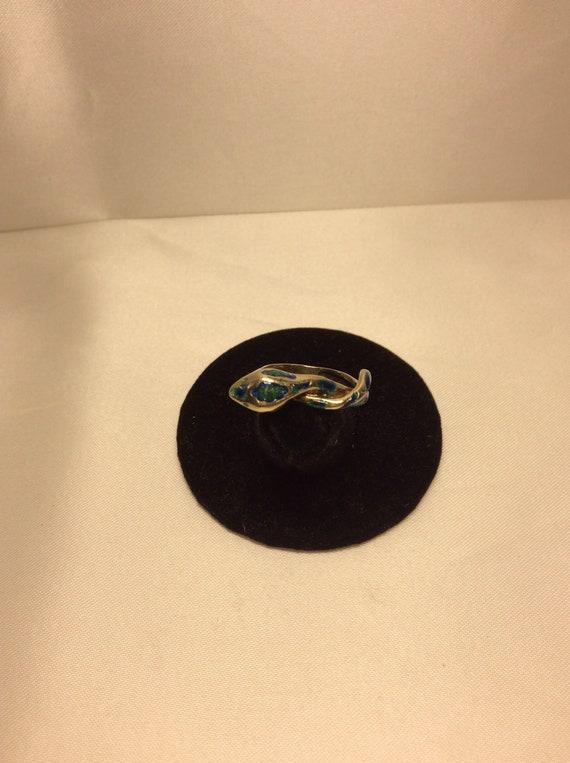 14k yellow Gold Snake Ring enameled snake ring