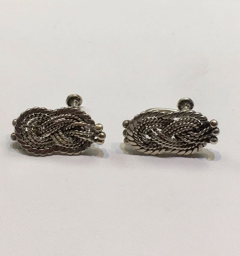 Vintage Hector Aguilar Silver Earrings Signed in Screw Back Style 1940 Woven Knot style