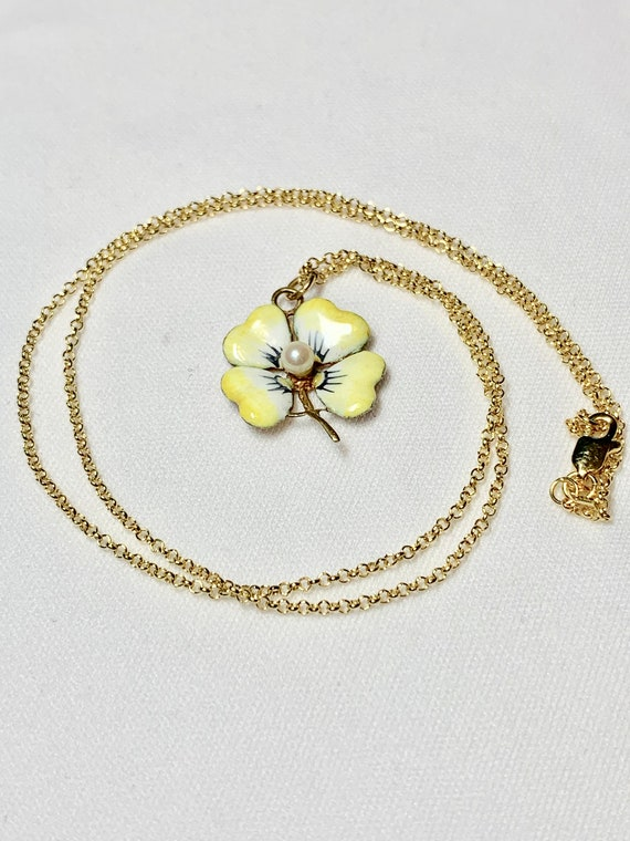 Enameled Pansy Necklace, 14k yellow  Pearl Center