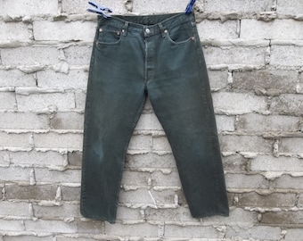 f833873f35c Vintage 501 Levis Red Label Button Fly Worn In Green Color Distressed 34  Waist 30 Length Boyfriend Jeans Preppy Grunge Kurt Cobain Seattle