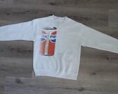 Vintage Sweatshirt Pepsi Cola 1990s 1980s Small Distressed Worn In Preppy Grunge POP Art Warhol Shirt Hip Hop Rap Star Unique Retro