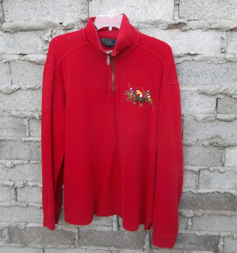 Red Ralph Embroidered Vintage Lauren 1990s Players Sweatshirt Horses Large Polo Sz nm8wN0