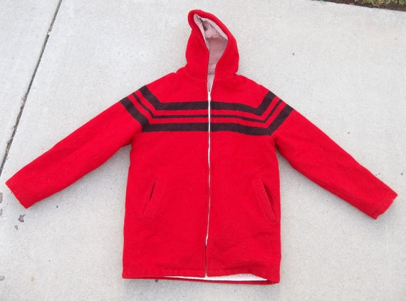 Vintage Wool Coat Sherpa lined 1980s Hudson Bay St