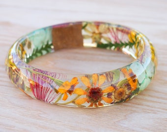 Real Flower Resin Bangle - Resin Bangle -Eco Resin Bangle - Real Flower Jewelry