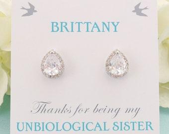 Personalized Bridesmaid Gift, Bridesmaid Jewelry, Bridesmaid Earrings, Wedding Jewelry, Bridal Studs, Lux Cubic Zirconia Teardrop Earrings