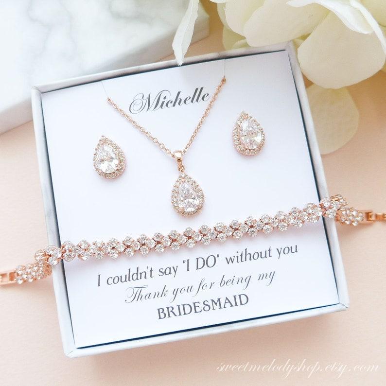 Bridesmaid Jewelry Set Bridesmaid Jewelry Rose Gold image 0
