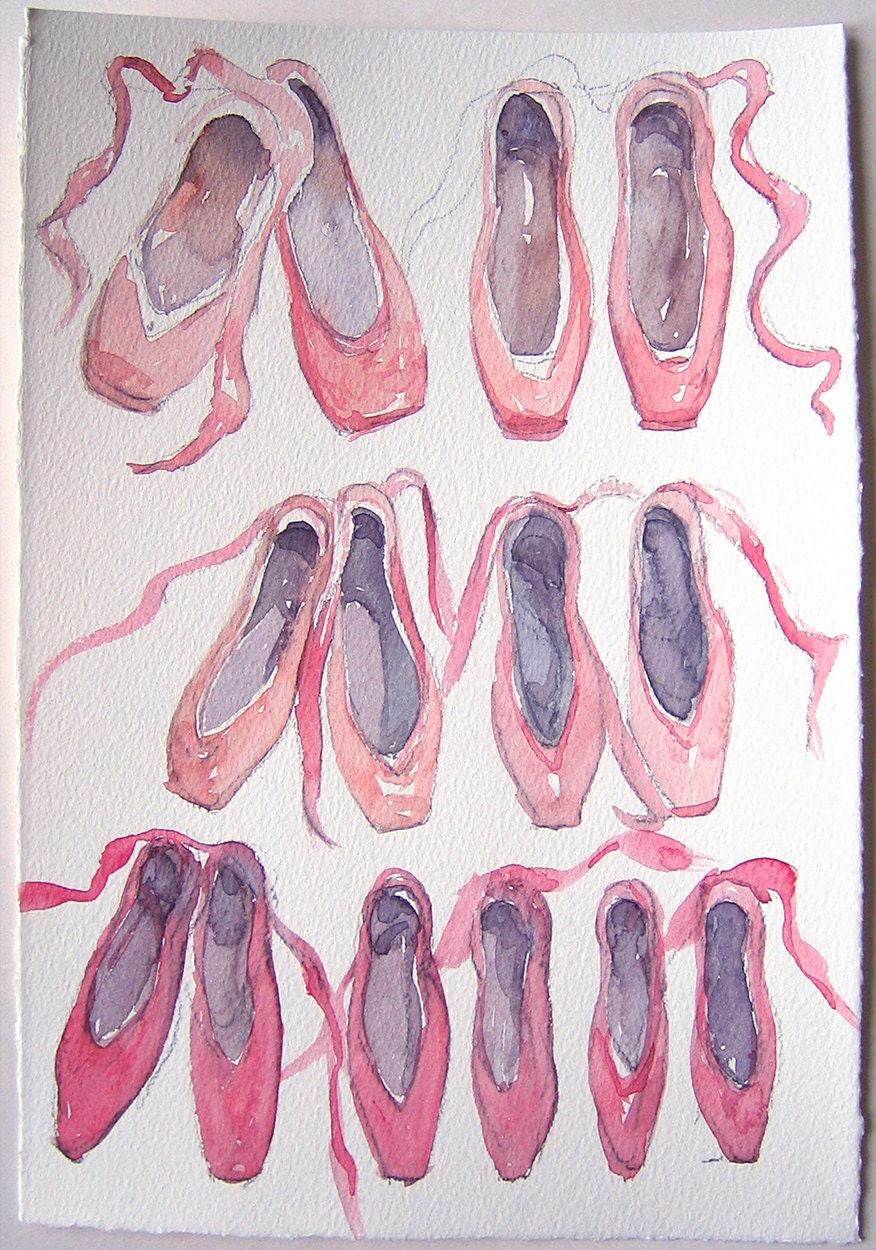 "Ballet Slippers Watercolor Painting 7,5""x11""/ Ballet Shoes Watercolor Illustration/ Studio Art decor/ Traning space decor/ Art Studio lover gift OOAK 7d0b29"