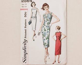"unused 1950s curve-hugging sheath dress printed pattern * Simplicity 2564 * vintage size 14 bust 34"""