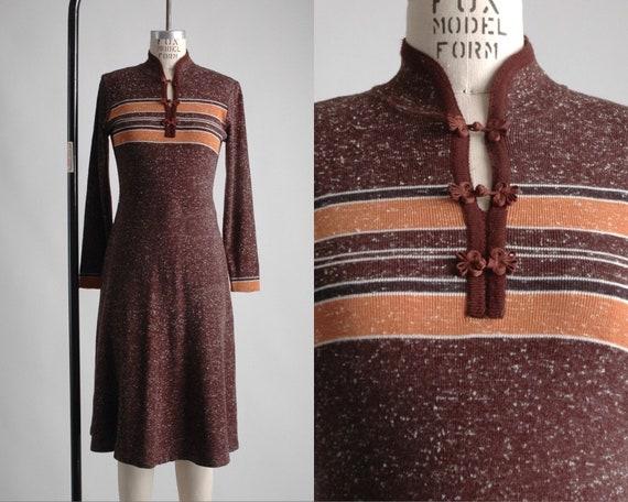 1970s Mandarin Collar Brown Knit Sweater Dress