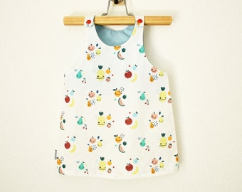 Baby Dress Dungarees | Toddler dress w/ fruits and heart print | 1st birthday cotton dress | A line dress for baby & kids | sleeveless dress