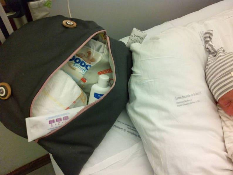 Denim Diaper bag Denim and pink flowers pram bag Z\u00e9 nappy glutton: travel nappy bag Funny Diaper clutch Stroller organizer baby bag