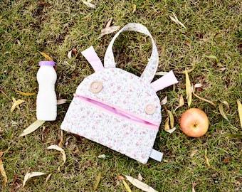 Snack bag for kids | Zé Snack-glutton hand bag | funny lunch bag | toddler tote bag | kids handbag | Sandwich wrap bag | cotton zippered bag
