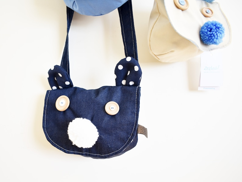 6f13370555b2 Cross body Bear bag for kids Denim saddle bag with pompom