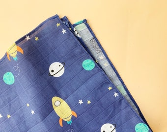 Outer Space Muslin blanket | Rocket Gauze baby blanket | modern burp cloth | Muslin square planets and sky burp cloth rag | Organic cotton