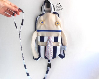 Backpack with Harness | Add a leash strap to your toddler backpack | Backpack with harness fabric strap | Custom backpack with strap leash