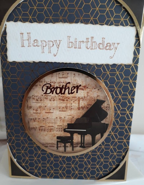 Happy Birthday Brother Piano Themed Card Music