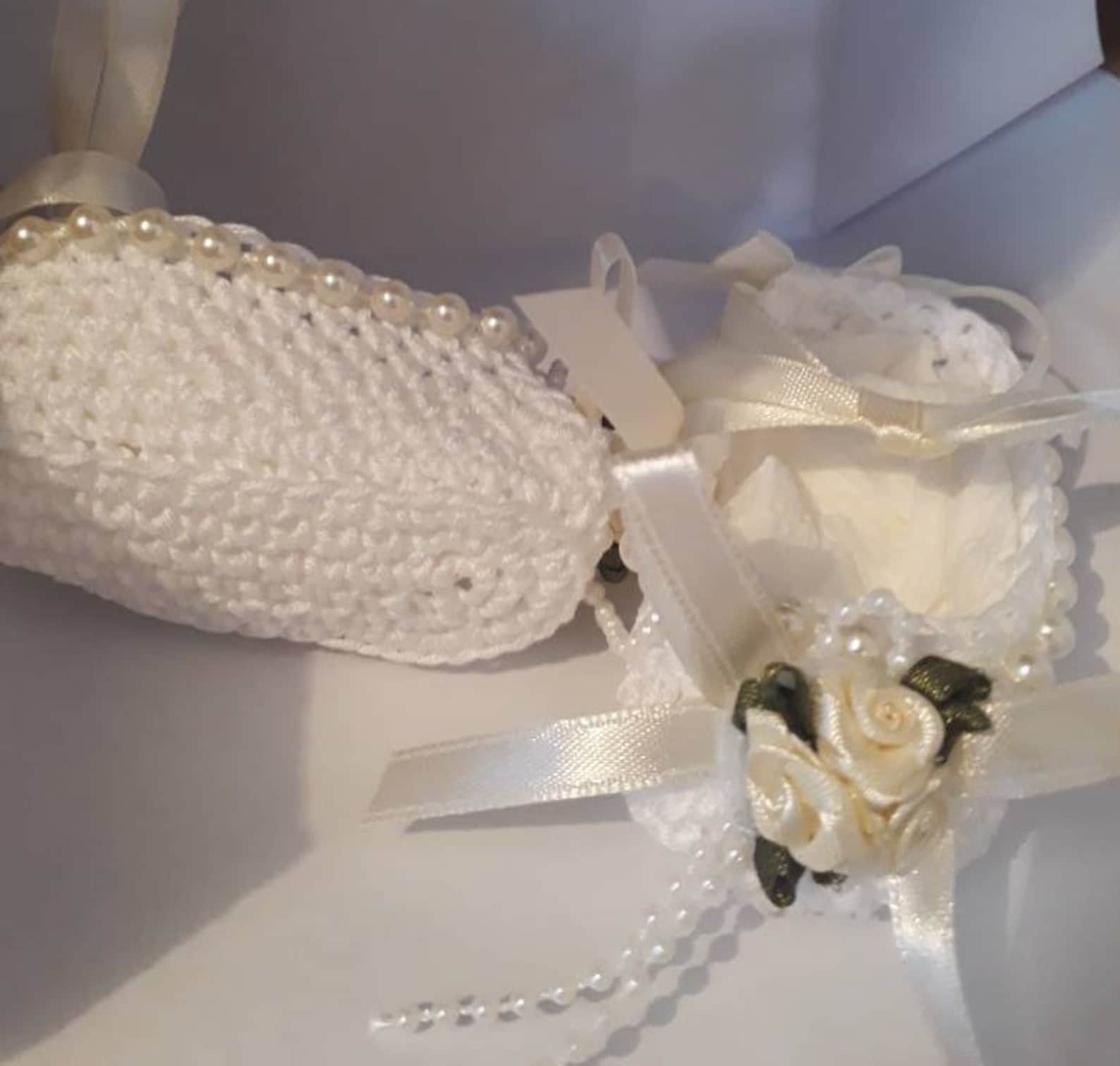 gift boxed crochet baby ballet shoes for special occassions