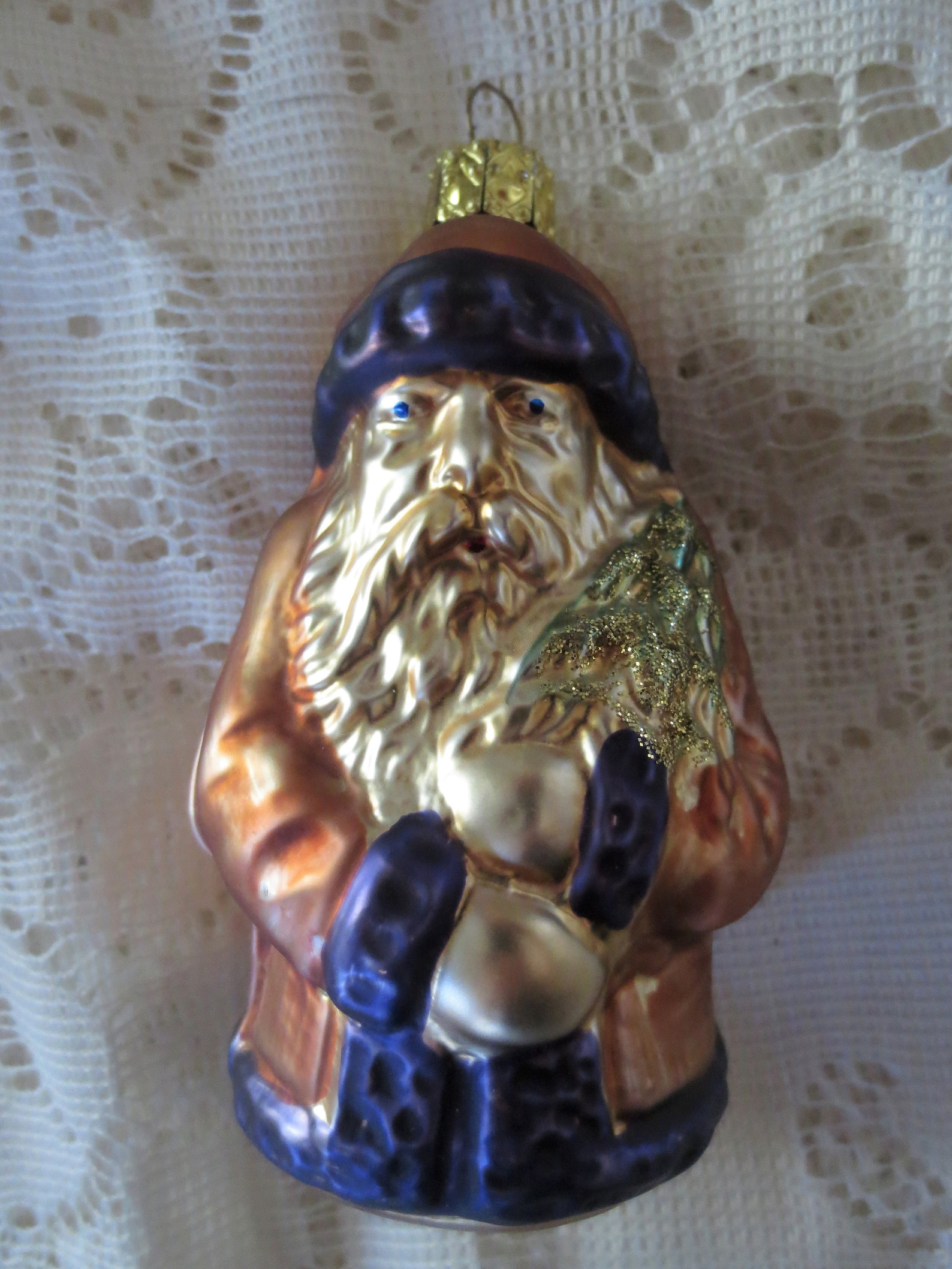 SANTA ORNAMENT Christmas Made in Germany St. Nick Antique Style Blown Glass