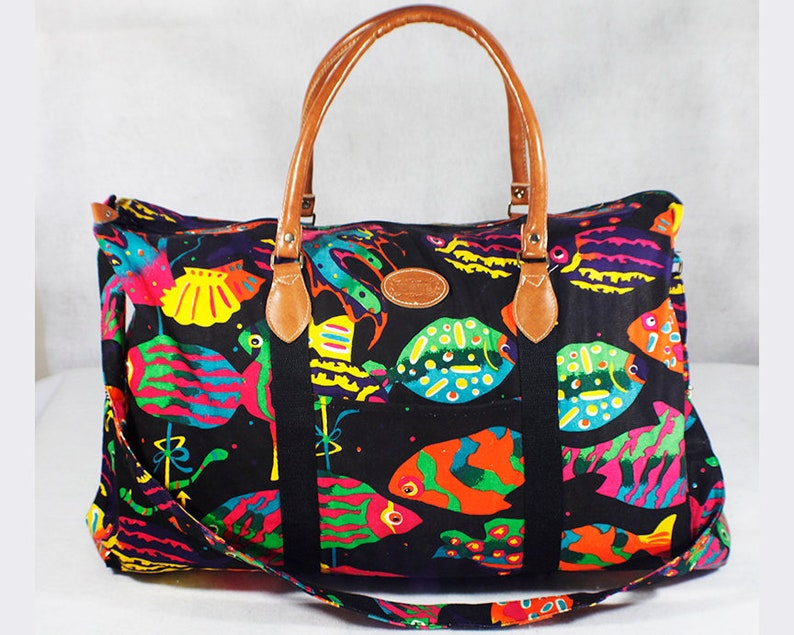 0e13e88347fb Vintage 80's GITANO Duffel Bag Tropical Ocean Fish Pattern w/ Shoulder Strap
